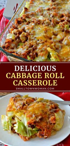 This wholesome meal combines all the delicious flavors of stuffed cabbage rolls with a lot less time and effort! Cabbage Roll Casserole makes eight healthy servings for your family. Adaptable to your individual tastes, this recipe will become a dinner favorite! Beef Dishes, Vegetable Dishes, Food Dishes, Main Dishes, Vegetable Casserole, Meat Recipes, Cooking Recipes, Healthy Recipes, Baked Cabbage Recipes