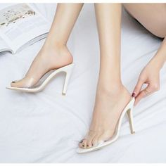 Fabulous, Sexy White Clear Heels Peep Toe Stiletto Heels Mules Sandals for Women you best choice for Party, Night club, Dancing club -TOP Design by FSJ