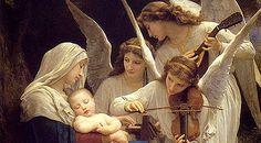 """""""Song of the Angels"""". William Bougureau, 188. Dimensiones: 152.4 x 213.4 cm. María, serena, y el Niño Jesús, dormido, rodeados de naturaleza, junto a tres ángeles que tocan una canción de cuna. Un reino de fantasía exuberante cobra vida con tres ángeles idealizados tocando instrumentos musicales, mientras que una luz celestial ilumina su serenata. Todas las figuras están pintadas con una perfecta belleza etérea. Museum at Forest Lawn Memorial Park, California, Estados Unidos."""