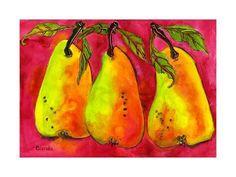 size: Art Print: Hot Pink Pear Art by Blenda Tyvoll : Travel Watercolor Paintings, Original Paintings, Original Art, Ink Painting, Watercolour, Wall Art Prints, Fine Art Prints, Canvas Prints, Pink Canvas Art