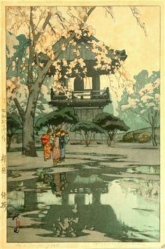 Hiroshi Yoshida - Scenes of Cherry Blossom -In a Temple Yard, 1935