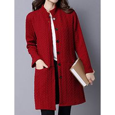 Band Collar Single Breasted Pocket Embossed Plain Coat ($35) ❤ liked on Polyvore featuring outerwear, coats, single-breasted trench coats, cotton coat, red coat, long coat and long red coat