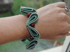 Christmas Holly inspired zipper bracelet by Habercraftey.