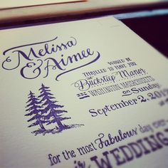 Some hand-lettered and custom-illustrated wedding invites by Ladyfingers Letterpress!