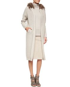 W06P2 Brunello Cucinelli Fox Fur-Trimmed Hooded Cashmere-Blend Ribbed Coat
