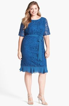 Adrianna Papell Ruffled Hem Lace Sheath Dress (Plus Size) available at #Nordstrom
