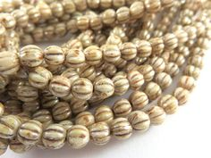 50 Cream Luster Melon Czech Round Ribbed Beige Opaque Glass Beads 5mm - 50 pc - G6086-OLP50 by allearringsandsuppli on Etsy