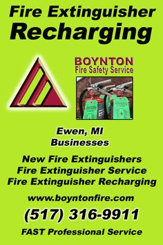 Fire Extinguisher Recharging Ewen, MI (517) 316-9911 We're Boynton Fire Safety Service. Call Today and Discover the Complete Source for all Your Fire Protection!