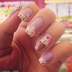 Cream Nail Art Is the Sweetest Manicure Trend of Summer Pin for Later: Ice Cream Nail Art Is the Sweetest Manicure Trend of SummerPin for Later: Ice Cream Nail Art Is the Sweetest Manicure Trend of Summer Cute Nail Art, Cute Nails, Kid Nails, Prom Nails, Nail Art Designs, Nail Designs For Kids, Food Nail Art, Ice Cream Nails, Nail Art For Kids