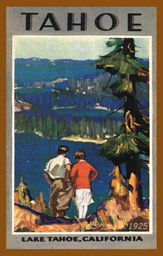 Lake Tahoe 1925. Quilt Blocks printed on cotton for quilters. Ready to Sew.  Single 4x6 quilt block $4.95. Set of 4 quilt blocks with free wall hanging pattern $17.95.
