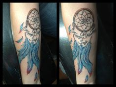 dream catcher with peacock feathers   Dream Catcher Tattoo Blue