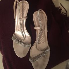 """Sparkly heels Perfect prom or wedding shoes. Approx 3.5"""" heel. Rhinestone strappy sandals. These are really pretty shoes. Wore them once. As I recall they were comfortable. Shoes Heels"""