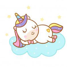 Cute unicorn cartoon sleep on could hand drawn style Premium Vector