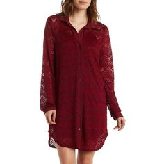 Charlotte Russe Long Sleeve Lace Shirt Dress ($35) ❤ liked on Polyvore featuring dresses, burgundy, burgundy lace dress, red dress, lace shift dress, long sleeve dress и lace sleeve dress