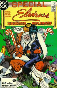 "Horror Comics : House Of Mystery ""Elvira's Haunted Holidays"", January, 1987 Cover Art by Jose Luis Garcia-Lopez Bd Comics, Horror Comics, Horror Art, Christmas Cover, Dark Christmas, Vintage Christmas, Christmas Decor, Comic Book Characters, Comic Books"