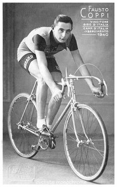 Fausto Coppi in 1941 Old Bicycle, Bicycle Race, Old Bikes, Cycling Art, Road Cycling, Cycling Bikes, Velo Vintage, Vintage Cycles, Bicycle Pictures