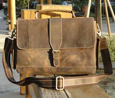 "Vintage Handmade Crazy Horse Leather Briefcase / Messenger / 11"" MacBook Air 12"" Laptop Bag in Old Brown"