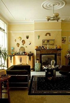 1930s english living room with art deco furniture