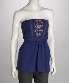 Take a look at this Royal Blue Embroidered Strapless Top by Ruby Rose on #zulily today!