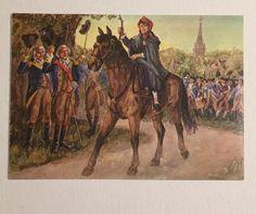 Vtg UNITED STATES Patriotic Post Card Sybil Ludington Receiving Cheers Print