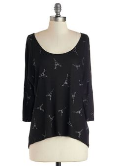 Pending Swap. Modcloth When Eiffel in Love Top, size Large. Off the shoulder just doesn't work on me. Worn a couple of times and washed (cold, laid flat to dry) once.