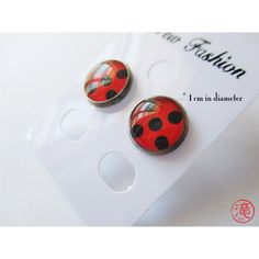 Miraculous LadyBug Inspired Snap Button earrings ($13) ❤ liked on Polyvore featuring jewelry, earrings, snap closure earrings, earring jewelry, snap jewelry and snap button jewelry
