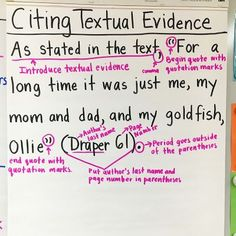 Anchor Chart on citing textual evidence by breaking down the process of how to cite correctly.