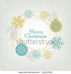 Christmas greeting card - stock vector. Xmas theme in popular colors.