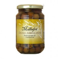 Aceitunas Arbequinas en Salmuera - Mallafre 220 gr Candle Jars, Desserts, Food, Gourmet, Olives, Oil, Raw Materials, Tailgate Desserts, Eten