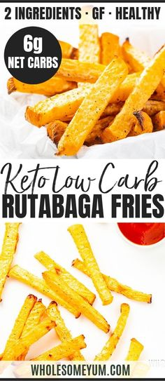 Low Carb Keto French Fries Recipe (Rutabaga Fries) - Rutabaga fries make the best keto french fries! Youll love the crispy exterior. These low carb fries have just 6 g net carbs! #wholesomeyum #keto #ketorecipes #lowcarb #lowcarbrecipes #fries #ketofrien