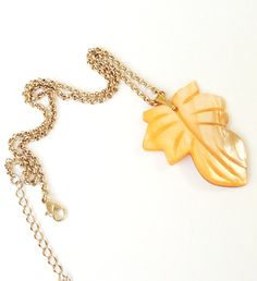 Fall Orange  Mother Of pearl Shell Leaf Gold Chain by BijiBijoux, Perfect for this soming season:) Orange leaf
