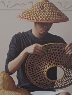 eb2072d8abf Vintage Bamboo Conical Hat   Asian Rice Paddy by CantonPalace