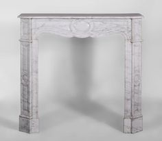 Small antique flat Pompadour style fireplace in white Carrara marble (Reference 3051) - Available at Galerie Marc Maison - #fireplace #marble #carrara #louis15 #19thcentury #pompadour #mantel