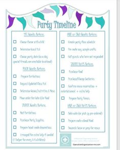 How to plan a party just got easier with these free printable party planner and party guide worksheets. These free printables include party list, printable planner and printable organizer. These party checklist make the perfect party guide so you can be … Birthday Party Checklist, Party Planning Checklist, Event Planning, Birthday Parties, 80th Birthday, Tea Parties, Birthday Ideas, Party List, Templates Printable Free