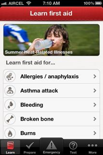 Go check out the new American Red Cross First Aid App, available free for both iPhone and Android.  The Red Cross is releasing the app this morning and it's the first in a series of Red Cross preparedness apps that will be unveiled this year. It also includes a number of features that go beyo