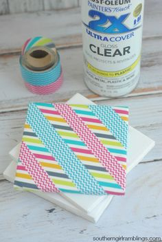 Looking for easy washi tape ideas? Check out these DIY Washi Tape Coasters. They are fun, simple, and easy to customize!