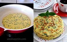 recipe with spinach pancakes - Gesunde Essen Spinach Pancakes, Turkish Recipes, Ethnic Recipes, Crepe Recipes, Spinach Recipes, Creative Food, Brunch, Food And Drink, Cheese