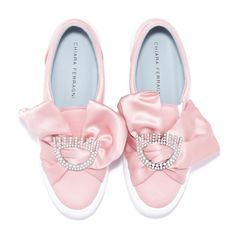 "Pink satin canvas slip-on embroided with silver glitter ""flirting"" pin and satin ribbon. light blue leather lining and insole. made in italy."