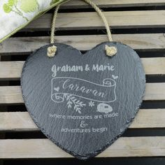 A caravan is a real home from home, yet has that enviable quality of also being a place where happy times naturally ensue. Of course, there is no harm in having this slate reminder to ensure every minute spent in the caravan is a memorable one, and as there is no rule that said that caravans are for the older generations only, this heart shaped slate has a distinctly contemporary feel.  Simply add your choice of personalisation, pack your slate, tow, arrive, display your slate and have a…