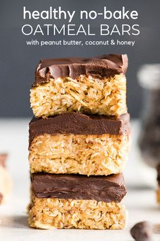 These No-Bake Oatmeal Bars with Peanut Butter & Coconut are the ultimate easy no-bake healthy dessert or snack! They are made in 5 minutes with 7 ingredients and are gluten and dairy-free! Plus they have no refined sugar and are vegan-friendly! Healthy Sweets, Healthy Dessert Recipes, Healthy Baking, Gourmet Recipes, Healthy Drinks, Healthy Food, Baking Desserts, Health Desserts, Healthy No Bake Cookies