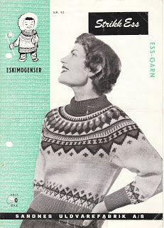 Blomsterdama: ESKIMO-GENSER Fair Isle Knitting, Knitting Yarn, Hand Knitting, Norwegian Knitting, Icelandic Sweaters, Knit Or Crochet, Vintage Knitting, Knitwear, Knitting Patterns
