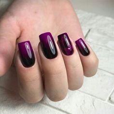 Маникюр | Nails Gradient Nails, Purple Nails, Glitter Nails, Ombre Nail Designs, Nail Art Designs, Stylish Nails, Trendy Nails, Nail Deco, Pretty Nail Art