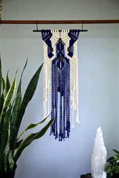 Macrame Wall Hanging - Natural White Cotton & Hand Dyed Indigo Blue Rope w/ Wooden Beads - Boho Home, Nursery Decor - Ready To Ship Azul Indigo, Bleu Indigo, Indigo Dye, Ebony Color, Weaving Projects, Macrame Patterns, Boho Diy, Wall Hanger, Beautiful Patterns