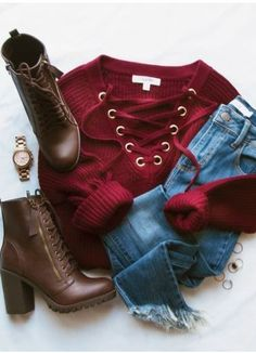 Elsa Lace Up Sweater in Burgundy - love the color, style and casual vibe. Definitely an outfit I would wear. Mode Outfits, Outfits For Teens, Fashion Outfits, Womens Fashion, Fashion Trends, Latest Fashion, Tween Fashion, Fashion Styles, Cute Winter Outfits