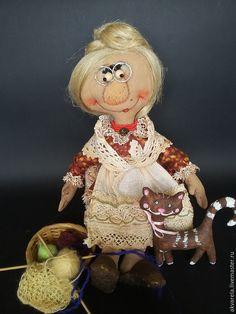 Купить Бабулечка Агата и ее киска Алиска - бабушка, бабулька, кошка, авторская ручная работа