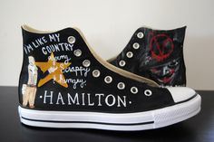 Hamilton custom painted shoes! Design your own pair by clicking the link for my Etsy shop! #hamilton #paintedshoes