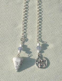 Handmade Howlite & Pentagram Pendulum
