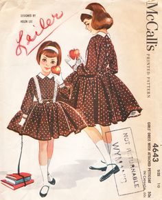 Vintage 1958 McCalls Designed By Helen Lee Sewing Pattern Girls Party Dress with Attached Petticoat Pattern Size 8 **Epsteam Mode Vintage, Vintage Girls, Vintage Children, Vintage Dresses, Vintage Outfits, Mccalls Patterns, Vintage Sewing Patterns, Clothing Patterns, Retro Fashion