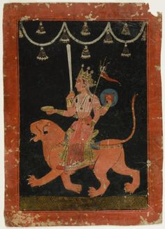 The Great Goddess Durga Riding Her Lion   Indian  Chamba, India ca. 1690