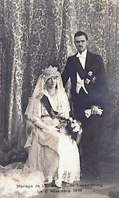 That is one huge tiara the Grand Duchess Charlotte is wearing (with Prince Felix of Bourbon Parma).